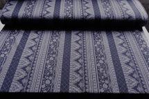 Viskosejersey Ornamente in blau navy und grau 001