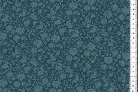 Viskosejersey Blumen Indigo – Bild 1
