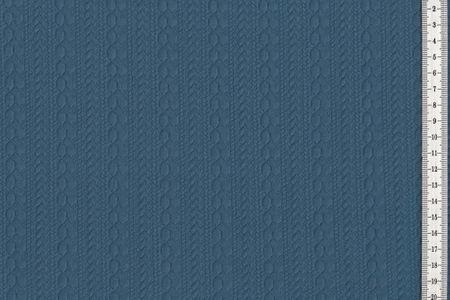 Jacquard Stoff mit schönem Strick Zopfmuster in blau – Bild 2