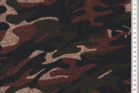 Kuscheliger camouflage Strickstoff Sweat angeraut schwarz grün braun sand meliert ideal für Winterkleidung