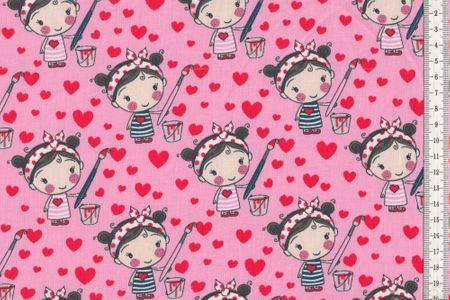 Jersey Mädchen und Herzen auf pink oder türkis und passend den Uni mit Herzen wählbar – Bild 2