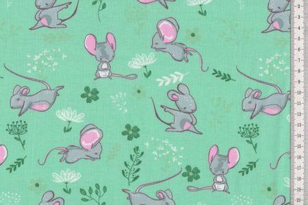 Jersey Stoff mit Mäuschen sehr schöner Kinderstoff in pink, grau oder mint wählbar – Bild 4
