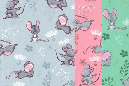 Jersey Stoff mit Mäuschen sehr schöner Kinderstoff in pink, grau oder mint wählbar – Bild 1