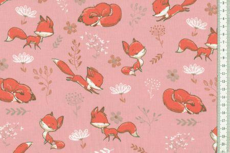 Jersey Stoff mit Füchschen sehr schöner Kinderstoff in pink, grau oder mint wählbar – Bild 3