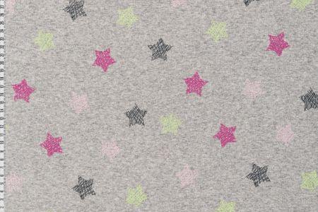 Alpenfleece Sweat Jogging Sterne in kiwigrün pink schwarz auf grau meliert dick angraut Wintersweat