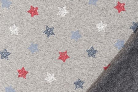 Alpenfleece Sweat Jogging Sterne in dunkelblau rot blau auf grau meliert dick angraut Wintersweat – Bild 2