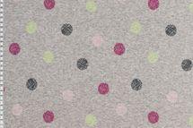 Alpenfleece Sweat Jogging Punkte in pink und kiwigrün auf grau meliert dick angraut Wintersweat 001