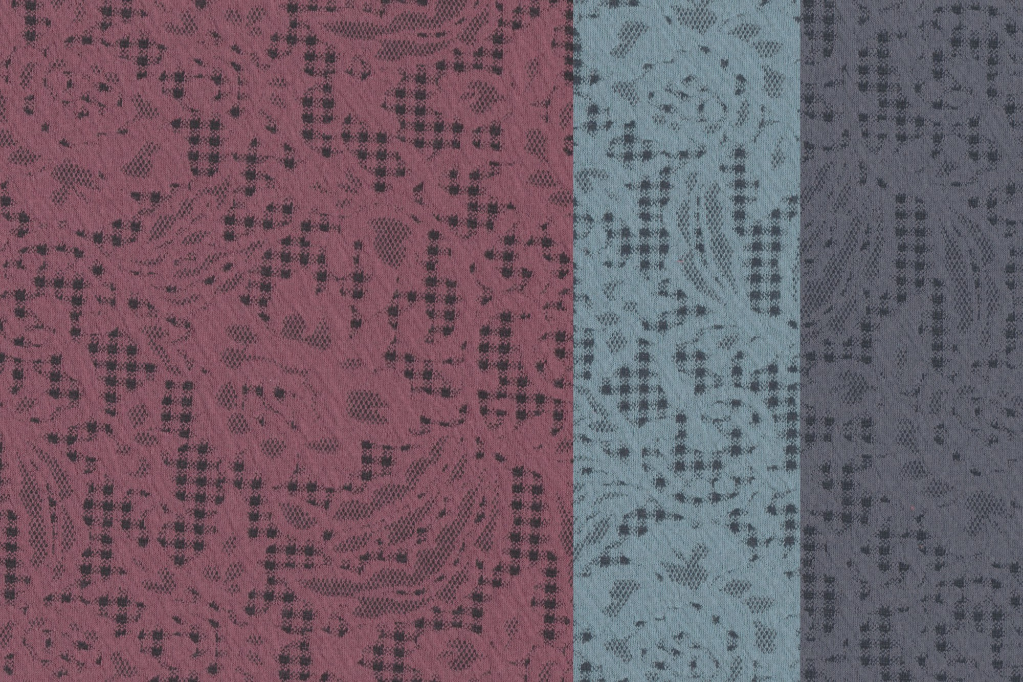 jacquard stoff mit sch nem blumen muster bordeaux blau oder mint w hlbar jersey uni. Black Bedroom Furniture Sets. Home Design Ideas