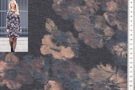 schöner Strickstoff mit Blumen grau meliert  – Bild 1