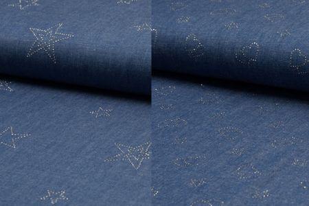 Jeansstoff einseitig mit Straß als Herz oder Stern besetzt – Bild 1