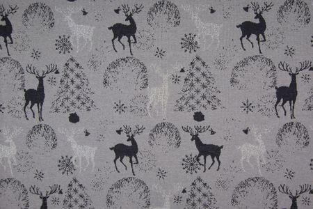 Jacquard Stoff Lurex glitzer Hirsche glänzendes silber und schwarz auf grau