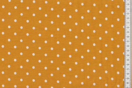 Baumwolljersey - Punkte auf senf, grün, mint, rot, dunkles fuchsia, petrol, blau oder schwarz – Bild 2