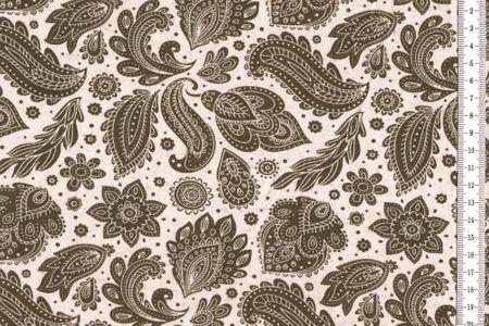 Viskosejersey Retro Muster khaki oder navy – Bild 2