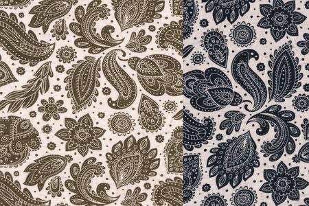 Viskosejersey Retro Muster khaki oder navy – Bild 1