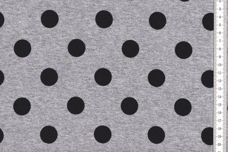 Viskosejersey mit schwarzen Punkten auf grau meliert