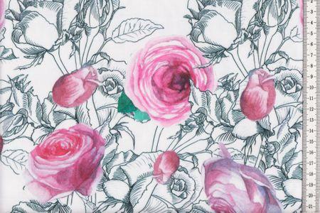 Sommersweat Miezes Rose in weiß mit schönen Rosen Motiv – Bild 1