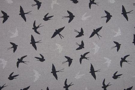Jacquard Stoff Lurex glitzer Schwalben glänzendes silber und schwarz auf grau oder grau auf schwarz – Bild 2