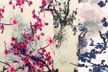 Viskose Leinen Jersey mit Zweigen und Blüten in pink, blau oder schwarz auf nude Untergrund 001