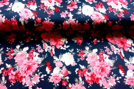 Viskosejersey mit schönen Blumen in rot und weiß auf navy – Bild 2