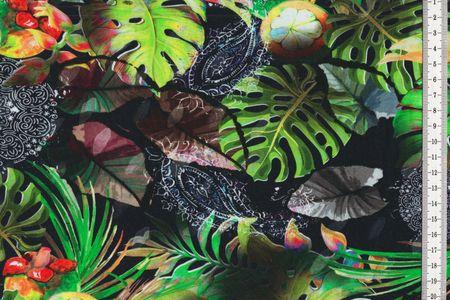 Jersey Stoff mit Farn, Blätter und Früchte in grün, rot schwarz – Bild 1
