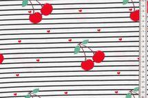 Jersey Stoff Streifen, Herzen und Kirschen auf weiß mit schwarzen Streifen 001