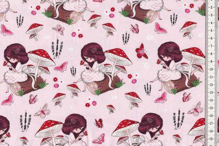 Jersey Stoff niedliches Mädchen mit Schmetterlingen auf rosa