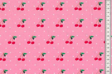 Jersey Stoff Kirschen mit schwarzen Punkten auf weiß oder Kirschen mit weißen Punkten auf rosa oder schwarz – Bild 3