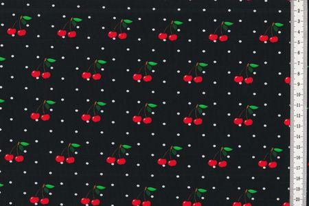 Jersey Stoff Kirschen mit schwarzen Punkten auf weiß oder Kirschen mit weißen Punkten auf rosa oder schwarz – Bild 4