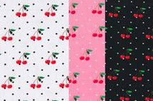 Jersey Stoff Kirschen mit schwarzen Punkten auf weiß oder Kirschen mit weißen Punkten auf rosa oder schwarz 001