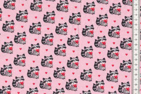 Jersey Stoff niedlicher Waschbär auf rosa mit Herzen