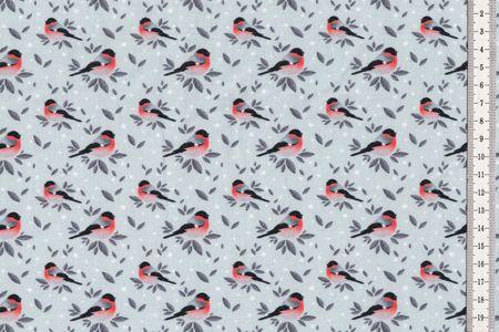 Sommersweat Stoff niedlicher Vogel auf grau