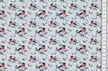 Sommersweat Stoff niedlicher Vogel auf grau 001