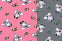 Jersey Stoff niedliche Koalas auf grau oder rosa 001