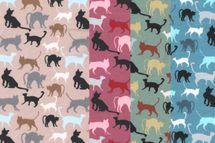 Jersey Stoff Katzen auf beige, rosenholz, khaki oder blau 001