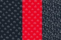 Baumwolle mit Ankern oder Booten auf navy oder rot 001
