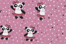 Jersey Stoff Panda auf rosa und passender uni wählbar 001