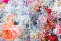 Lycra bedruckt mit Blumen in rosa/gelb oder rot Badeanzugstoff 001