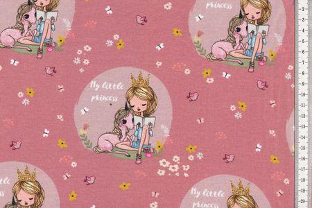 """Jersey Stoff schöner Kinderstoff mit Mädchen und Einhorn """"My little princess"""" altrosa"""