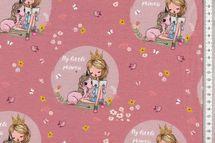 """Jersey Stoff schöner Kinderstoff mit Mädchen und Einhorn """"My little princess"""" altrosa 001"""