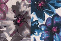 Viskose Leinen Jersey mit Blüten in pink oder blau auf nude meliertem Untergrund  001