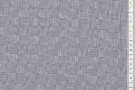 """French Terry Stoff """"Rick"""" mit Kritzel-Schachbrett auf blau, grau oder pink von Swafing – Bild 2"""