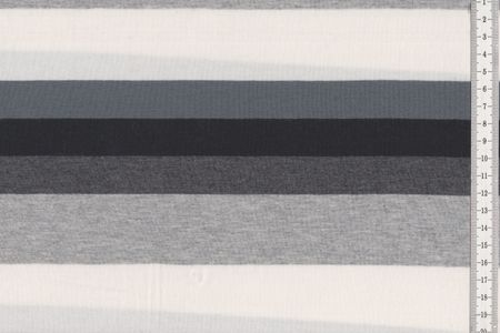 "Baumwolljersey Stoff ""Hameln"" mit Blockstreifen in grau-schwarz-weiß, blau-petrol-grau oder fuchsia-altrosa-grau meliert – Bild 2"