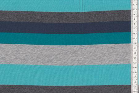 "Baumwolljersey Stoff ""Hameln"" mit Blockstreifen in grau-schwarz-weiß, blau-petrol-grau oder fuchsia-altrosa-grau meliert – Bild 4"