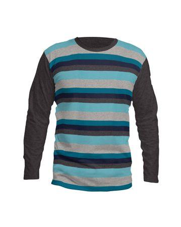 "Baumwolljersey Stoff ""Hameln"" mit Blockstreifen in grau-schwarz-weiß, blau-petrol-grau oder fuchsia-altrosa-grau meliert – Bild 6"