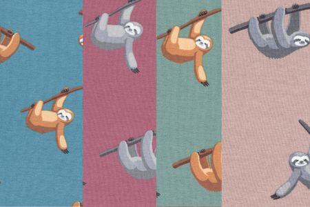 Jersey Stoff Faultier auf beige, rosenholz, khaki oder blau – Bild 1
