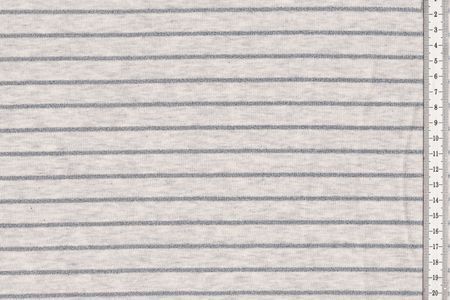 Baumwolljersey mit bunten oder silbernen Lurex Glitzerstreifen auf hellgrau bzw. schlamm meliert – Bild 2