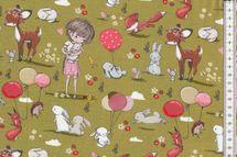 Jersey Stoff schöner Kinderstoff mit Mädchen, Häschen, Luftballons und Rehkitz auf gün - Fräulein von Julie 001