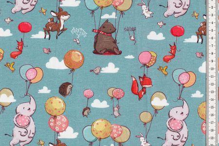Jersey Stoff schöner Kinderstoff mit Elefant, Rehkitz, Luftballons und Füchschen auf blau - Fräulein von Julie