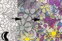 Baumwolljersey Farbwechsel mit Blumen 001