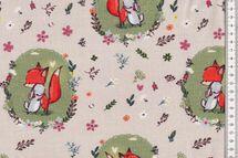Jersey Stoff schöner Kinderstoff mit Füchschen und Hase - Fräulein von Julie 001